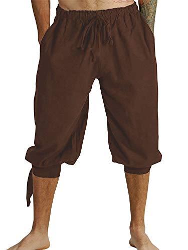 Mensleben Herren Mittelalter Hose mit Schnürung Wikinger Hose Piratenhose Männer Kostümhose für Fasching Cosplay Themenparty Bühnenaufführung