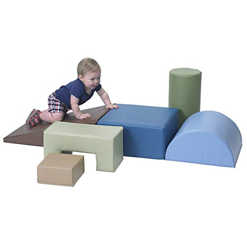 Children's Factory Climb & Play 6 Piece Set for Toddlers, Baby Climbing Toys, Indoor Play Equipment for Homeschool/Classroom/Playroom, Woodland Colors