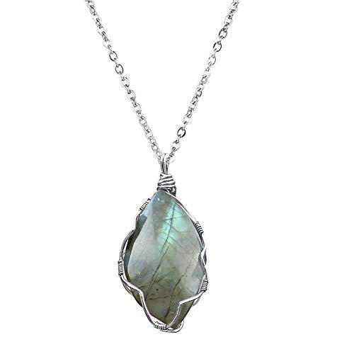 OCARLY Handmade Wire Wrapped L-abradorite Necklace Healing Crystal Stone Free Form Gemstone Pendant (L-abradorite - Silver)
