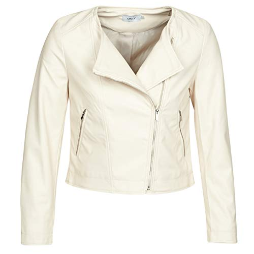 ONLY ONLDALY Jacks/Blazers dames Beige - DE 32 (EU 34) - Leren jas/kunstleren jas