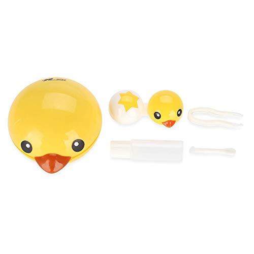 BLLBOO Nette Mini-Cartoon-Ente Kontaktlinsenhalter Augenpflege Linsen-Behälter-Kasten Spiegel Box