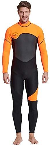 Traje de Neopreno Traje de Neopreno de Cuerpo Entero para Hombre, Traje de Buceo de Manga Larga de Neopreno para Hombre de 3 Mm Natación/Buceo/Snorkel/Surf,Orange-3XL