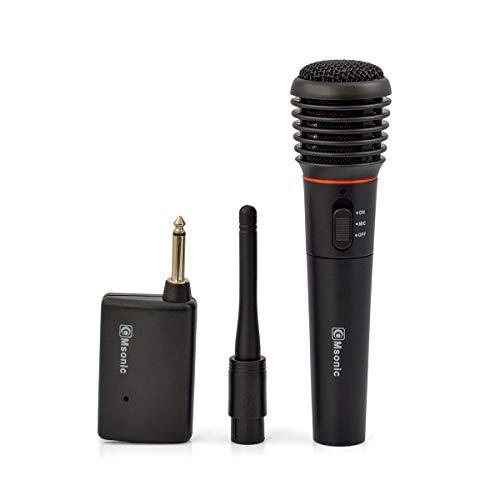 Msonic MAK475K - Microfono dinamico 2 in 1 senza fili e con cavo, per karaoke fino a 20 m, colore: Nero