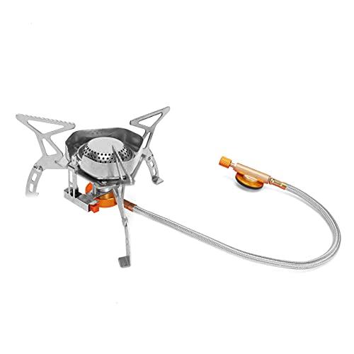 KUIDAMOS Mini Horno para Acampar, Potencia de Fuego Fuerte Buen Efecto a Prueba de Viento Tamaño pequeño Mini Estufa de Gas Larga Vida útil para cocinar al Aire Libre para Acampar