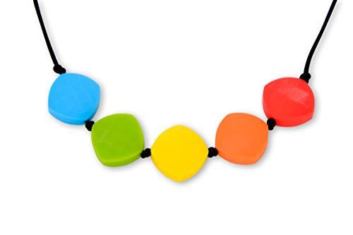 Collar de Silicona con los Colores del Arcoiris para Dentición Lactancia Bebé Perlas Cuadradas para Mordedor Libres de BPA, Hecho a Mano por MilkMama