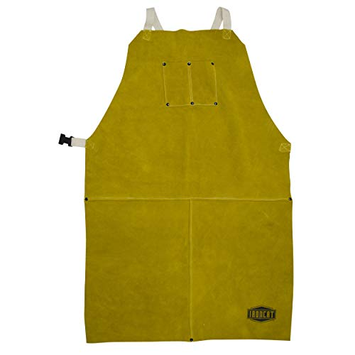 West Chester IRONCAT 7010 Split Cowhide Leather Bib Apron - 24 in. x 42 in. Heat Resistant Safety Wear in Golden Yellow for Welding. Safety Apparel