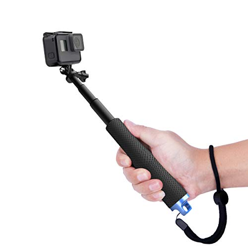 "Luxebell Selfie Stick Telescopic Pole Pocket Purse Size with Phone Clip Holder for Gopro Hero 7 6 5, Session 5, Hero 4/3+/3/2 and Cellphone 6.6""-18.1"" (Black)"