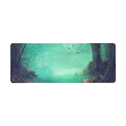 InterestPrint Soft Extra Extended Large Gaming Mouse Pad with Stitched Edges, Desk Pad Keyboard Mat, 31.5 x 12In - Halloween Gothic Medieval Decor, Spooky Forest with Dead Trees and Pumpkins