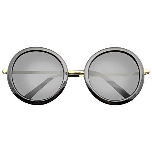 Emblem Eyewear - Nuovo Cerchio Stilista Celebrità Womans Occhiali Da Sole Rotondi (Oro Nero)