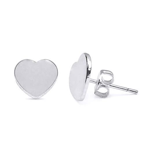 nuoshen Silver Heart Stud Earrings Tiny Flat Heart Studs for Women Girls