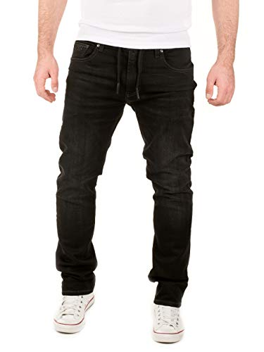 WOTEGA Herren Jeans Noah - Sweathose in Jeansoptik - Männer Jogg-Jeans Slim, Schwarz (Phantom Black 3R4205), W32/L34