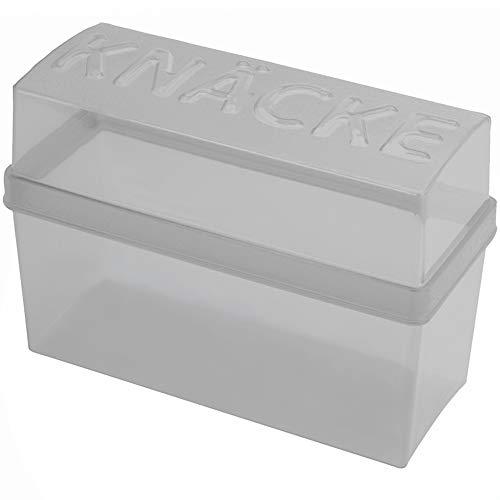 Knäckebrotdose Knäckebrotbox, hochwertiger Kunststoff, ca. 19 x 8 x 13.5 cm, hellgrau/weiß transparent, 1 Stück