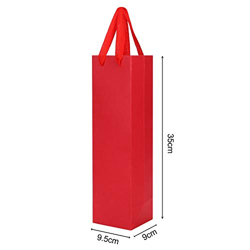 ワインバッグ ワイン包装用 手提げ紙袋 10枚セット 無地 厚手 縦長 ボトルバッグ ギフトバッグ ビジネス 業務 贈答用 クラフト紙袋 ラッピング袋 1本用 レッド