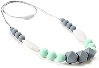 Lofca Teething Necklace Baby Silicone Teether Nursing Necklace for Mom Safe Toys for Teeth