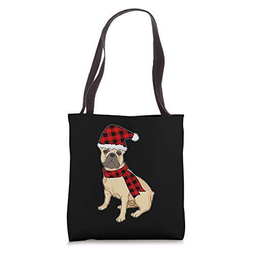 French Bulldog Buffalo Plaid Frenchie Dog Lover Christmas Tote Bag