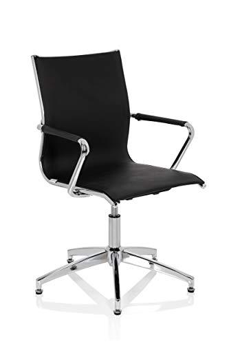 HJH OFFICE 660951 bezoekersstoel draaibaar PATMOS V kunstleer zwart/chroom design stoel conferentiestoel met automatische terugkeer
