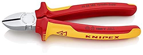 KNIPEX 70 06 180 Alicate de corte diagonal cromado aislados con fundas en dos componentes, según norma VDE 180 mm