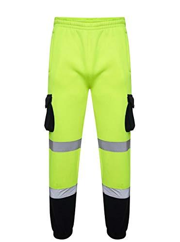 EHD Pantalones de seguridad para hombre de alta visibilidad de trabajo de forro polar pantalones de jogging de alta visibilidad