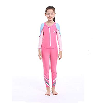 ZCCO Kids Swimsuit Girls and Boys Long Sleeve UV Sun Protection Full Body Rash Guard for Swimming Scuba Diving Snorkeling Pool Multi Water Sports One Piece Dive Skin Wet Suit (Pink-Rose Red, L)