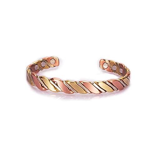 Brazaletes de cobre trenzado de tres tonos para mujer, color oro rosa, energía médica, cobre magnético, ajustable, pulseras y brazaletes (tipo 1)