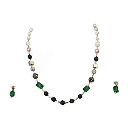 CaratYogi Bollywood Look Chain Necklace with Drop Earrings Green Onyx, Pearl Haar Chain Mala Jewellery Set for Women, Girls and Ladies