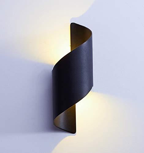 LED Wandleuchten 12W/ Up &Down Wandlampe,Außenwandlampen,Aluminiumgehäuse/3000k Warmweiß, IP65 Wasserdichte,Innen/Aussen (Schwarz + 3000K)