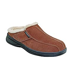 Orthofeet Asheville Men's Comfort Arthritis Diabetic Orthotic Brown Leather Slippers