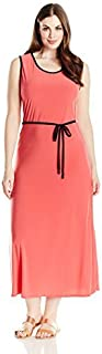 Star Vixen Women's Plus Size Sleeveless Round Neck Maxi Dress with Color Piping