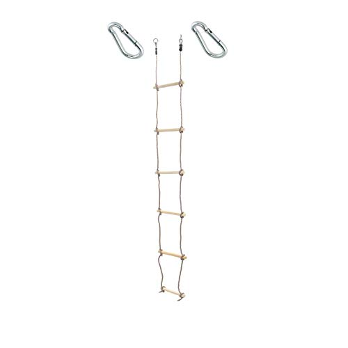 1 Stück h2i Kinder Strickleiter Kletterleiter 220 cm 6 Sprossen mit Karabiner zum Einhängen