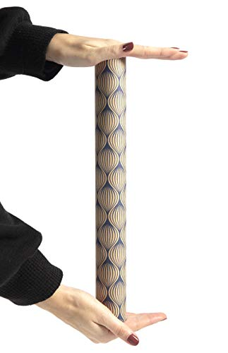 Clairefontaine 223829C Rolle Geschenkpapier Tiny rolls Kraft mit Blättermotiven (5 m x 0,35m, innovative Breite, einfach zum Transportieren, 70g, Blauer Engel) 1 Rolle, marineblau