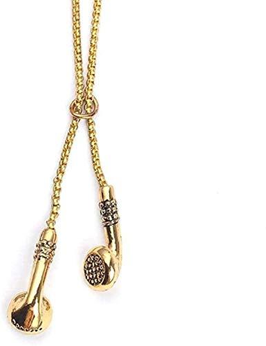 LKLFC Collar Colgante Cadena Collar Mujeres Hombres Collar Joyas 18K Chapado en Oro Cadena de Hip Hop Auriculares inalámbricos Auriculares Colgante Música Joyería DJ Novedad Collar Regalo