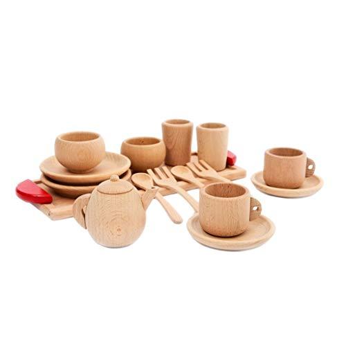 Lyguy Holzgeschirr Spielzeug, 1 Satz Holzgeschirr Werkzeuge Teekanne Teetasse Teatime Party Spielen Spielzeug Puppenhaus Miniatur Küche Geschirr Zubehör für Kinder Spielzeug