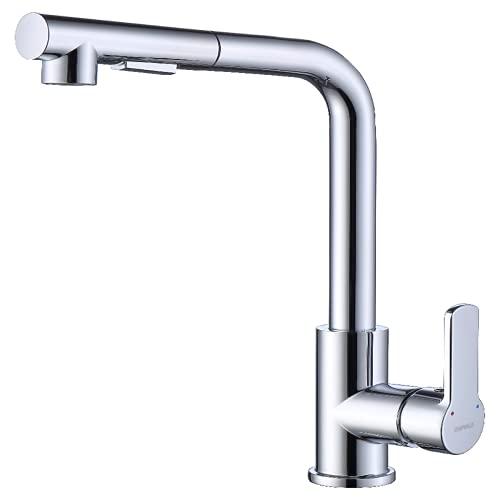 Empolo KM201-HC - Grifo de cocina extensible con ducha, dos tipos de chorros de agua, grifo monomando giratorio 360°, grifo mezclador cromado