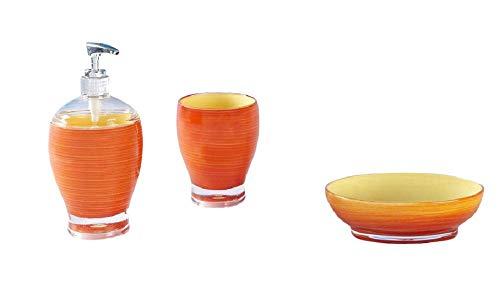 SANWOOD Bad-Accessoires-Set 3-teilig Leonie orange Seifenspender Mundspülbecher Seifenschale