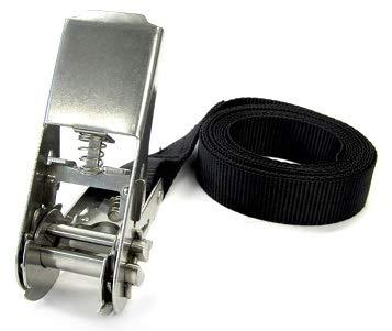 1x spanband met roestvrijstalen ratel LC400daN sjorriem 4 meter zwarte riem (958994)