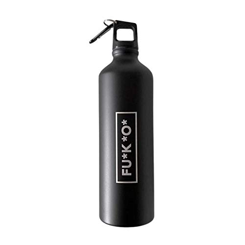 """FUKO - Botella Negra de Aluminio de 750 ml con Logo """"FU*K*O*"""" - Botella de Agua Ligera para el Gimnasio, Senderismo, Oficina, Viajes y Deporte"""