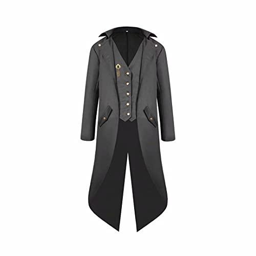Regency Era Chaqueta para Hombre Hombre Steampunk Tailcoat Abrigo Vintage Chaqueta Victoriana Traje Pirata Medieval Vikingo Renacimiento Abrigo de Esmoquin Formal Halloween