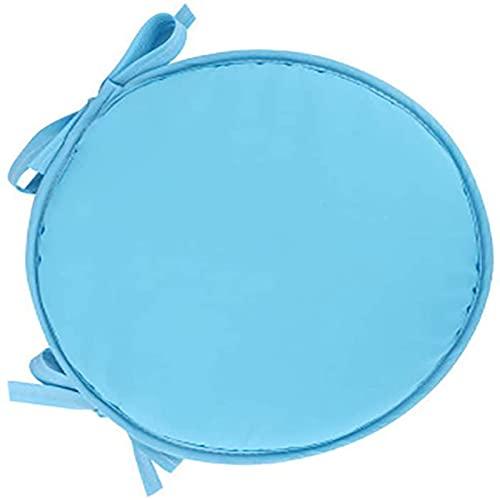 MGE - Cuscino rotondo per sedia, antiscivolo, con laccetti, per sedia da bar, sedia da pranzo, 2 pezzi, dimensioni: diametro 30 cm, colore: blu
