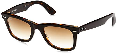 Ray-Ban RB2140 Original Wayfarer Sunglasses, Brown On Yellow Havana/Brown Gradient, 50 mm Crystal Brown Gradient Sunglasses