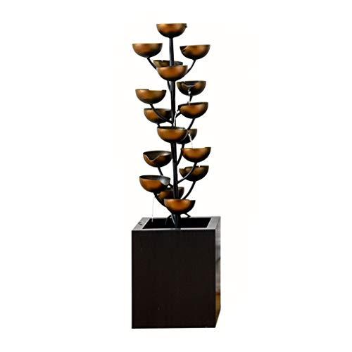 Fuente de escritorio / mesa De lujo negro de hierro forjado cubierta de la fuente creativa de la sala entrada de la oficina decoración fuente en cascada recipiente de Metal cascada hecha a mano, 37.4'