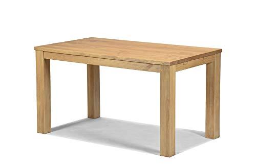 Naturholzmöbel Seidel Esstisch 140x80cm Rio Santo Farbton Honig hell Pinie Massivholz geölt und gewachst Holz Tisch für Esszimmer Wohnzimmer Küche, Optional: passende Bänke und Ansteckplatten