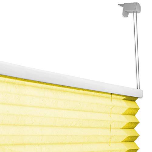 casa pura® Plissee Rollo   mit eleganter Crushed Optik   Klemmfix ohne Bohren   lichtdurchlässig & blickdicht   gelb   8 Größen (55x200cm) - 5