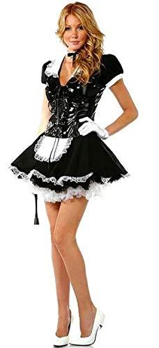 Forever Young Ladies Flirty French Maid Uniform Kostüm mit Schnürsenkel aus PVC mit Mieder Größe 38