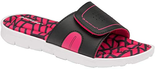 Dunlop Damen-Flip-Flops mit Memory-Schaum, Zehensteg, zum Reinschlüpfen, Strandsandalen, - Jayne Black Fuchsia - Größe: 40 EU
