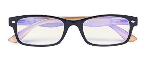 Anti Blue Light Computer Reading Glasses Reduce Eyestrain Eyeglasses Men Women(Black-Brown) +0.75