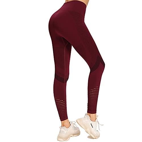 LZYCL Mujeres Alta Cintura Elástico Alto Nylon Polainas,Diseño Hueco De Malla Inconsútil Pantalón Yoga-El Vino es Tinto S