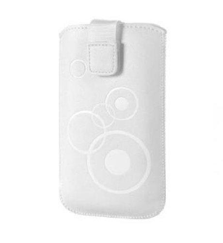 Handytasche Circle geeignet für Samsung Galaxy Alpha Handy Schutz Hülle Slim Case Cover Etui weiss mit Klettverschluss