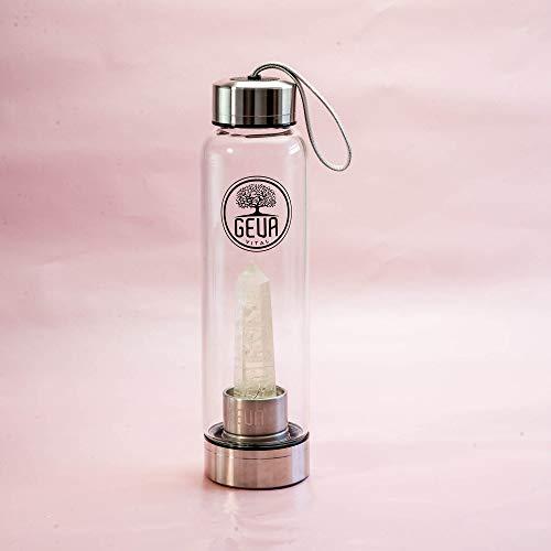 GEVA Vital Premium Edelstahl und Glas Trinkflasche 500 ml mit Edelstein zur Wasserbelebung - Edelsteinwasser für zuhause und mitnehmen - Perfekte Wasserflasche zum nachfüllen (Golden Citrin)