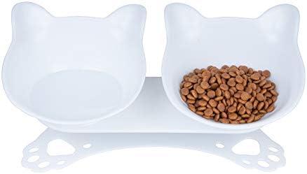 Pantula Cat Bowls Tilted cat Food Bowls Raised cat Food Bowl Pet Double 15 Slanted cat Bowls product image
