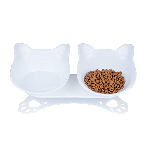 Pantula Double Anti Vomiting Cat Bowl with Stand - Detachable 15° Tilted Cat Feeding Bowl, Raised Dog and Cat Water and Food Bowl With Anti-skid&Anti-spill Pet Bowls for Cats   (White)